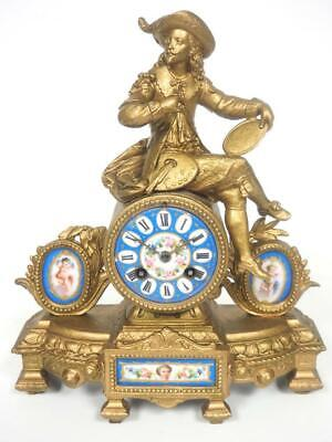 Antique French Sevres Mantel Clock 8 Day Figural bell Striking Mantle Clock 1890