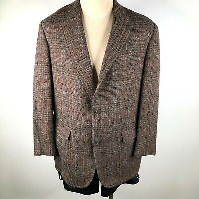 Vintage Brooks Brothers 43R BrooksTweed Brown Tartan Tweed Blazer Jacket