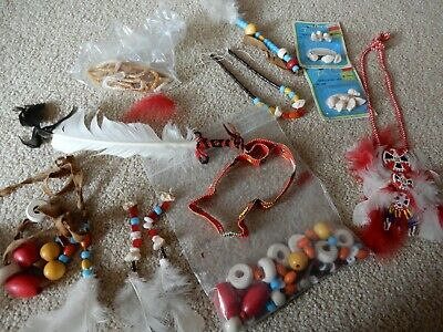 Large Assortment Of Feathers And Beads Necklace Earrings With Feathers Much More