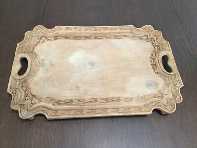 """Vintage Wooden Carved Tray   11- 1/2"""" X 18""""   50 years + Old   Unknown wood type"""