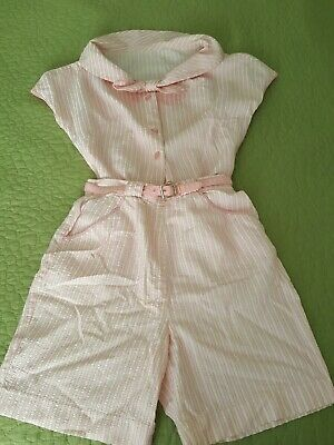 Pink Tiny Stripe Gingham Playsuit Beach Shorts & Top Set Retro 1950s Rockabilly