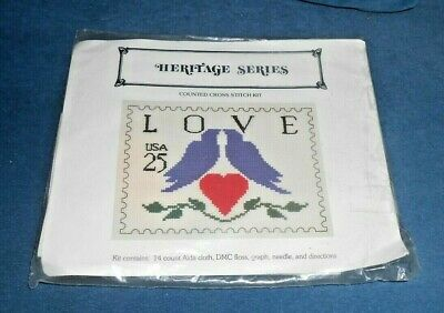 Heritage Series Love USA Stamp Counted Cross Stitch Kit
