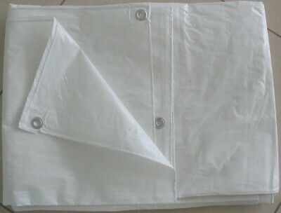 Strong White Tarpaulin with eyelets Waterproof Camping Ground Sheet & Outdoor