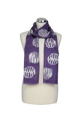Ladies Peony Broken Spot Purp White Scarf 100%  Cotton Washable Mothers Day Gift