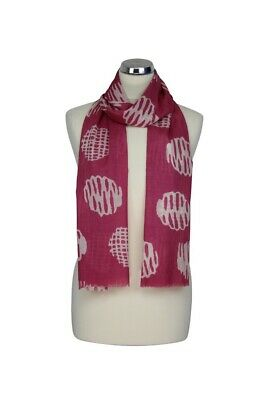 Ladies Peony Broken Spot Pink White Scarf 100%  Cotton Washable Mothers Day Gift