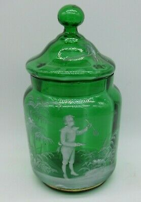 c1900's Victorian Mary Gregory Light Green Biscuit Barrel White Enameled Glass