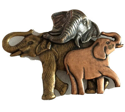 """Big Elephant Family Brooch Pin 3D Copper Animal Figural Jewelry 3"""" C15"""