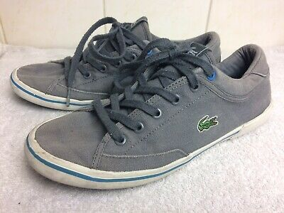 Lacoste Kids Boys Girls Grey Cotton Canvas Trainers Shoes Laced Uk3 Eur35.5