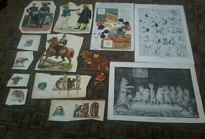 Lot of Louis Wain, Mickey Mouse, Victorian Scraps etc