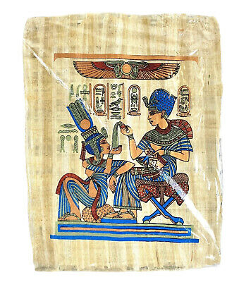"""Authentic King Tut & His Wife Hand Painted Papyrus Pharaoh Ancient 12"""" x 16"""""""