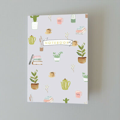 A5 Bullet Dot Grid Journal Notebook Plants and Coffee AUS Designed Printed in UK
