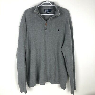 Polo Ralph Lauren Mens XL Gray 1/4 Zip Pullover Long Sleeve Sweater Blue Pony