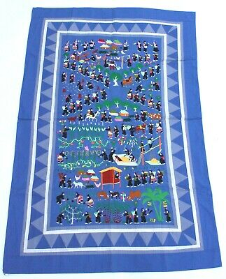"""Large Scale Hmong Embroidered Folk Story Cloth, Village Scenes (34.5""""x53"""")"""