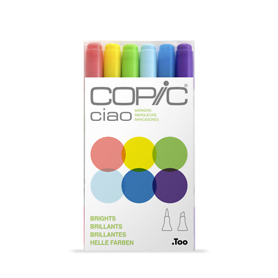 Copic CIAO 6PK Markers Dual Tipped Refillable Ink Markers NEW *Variation!*