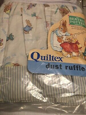 Vintage Beatrix Potter Crib Dust Ruffle With Stripe Bottom