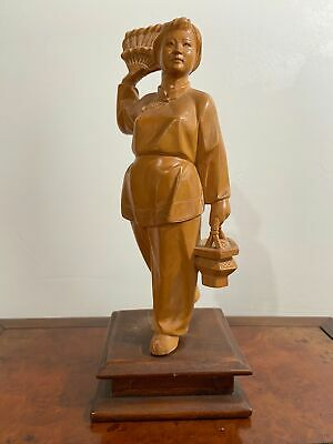 Beautiful Chinese Cultural Revolution Carved Solid Wood Antique Figurine