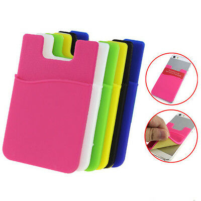 Silicone Wallet Card Bag Adhesive Holder Case Pouch Sticker F Cell Phone Blue