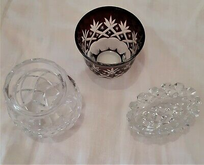 3 Unusual Antique Cut Glass Lead Crystal Pieces One Salt One Red ?Others ?Use