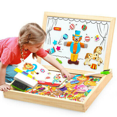 Girls Boys Magnetic Educational Toys Game Wooden Puzzle Painting Drawing Board