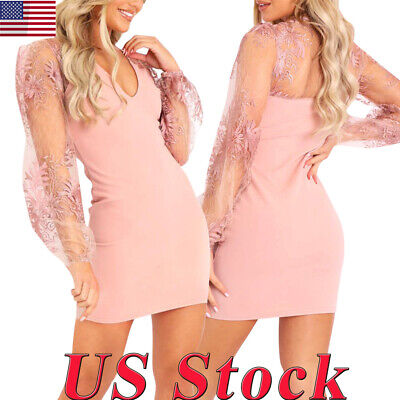 Women Sexy Stretch Lace Solid Color Panel Long Sleeve Dress Perspective Skirt US