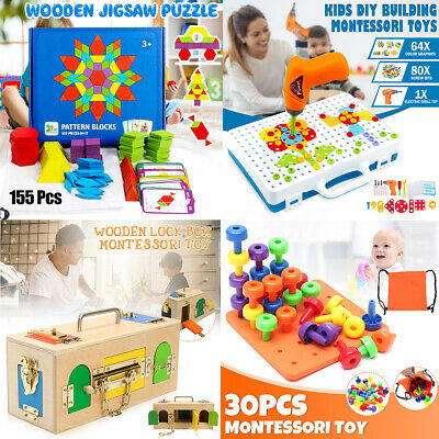 AU 4 Types Wooden Jigsaw Puzzle Montessori Toys Game For Kids Educational Gift