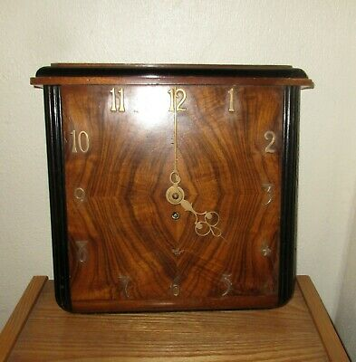 Antique/Vintage Elliott Wall Clock Square Wooden Key Wind Up Non-Working