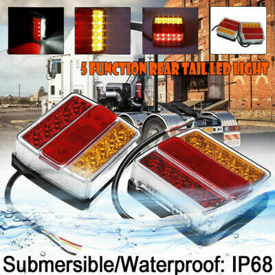 2X Rear 16 LED Submersible Trailer Tail Lights Lamp Boat Marker Truck Waterproof