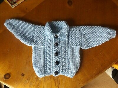 Brand New Hand Knitted Baby Boys  Pale Blue Aran Cardigan With Collar