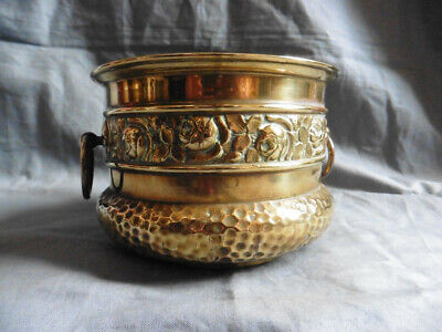 Vintage HAMMERED BRASS plant pot planter with rose shape and brass handles