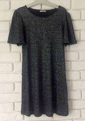 Next Girl Black Silver Sparkle Short Sleeve Party Dress Age 11 Years