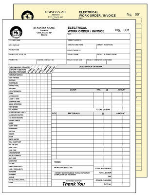 100 Electrical Work Order Invoice -100  Numbered 2 Part Carbonless