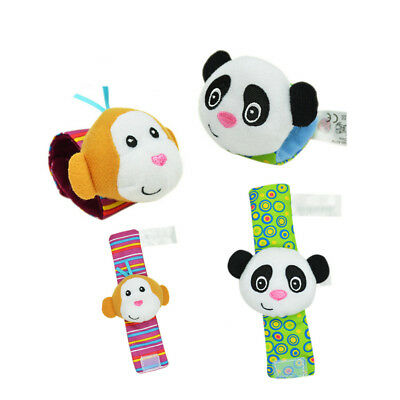 1 Pair Funny Baby Cartoon Animals Rattle Toys Wrist Rattle Protect Baby Care