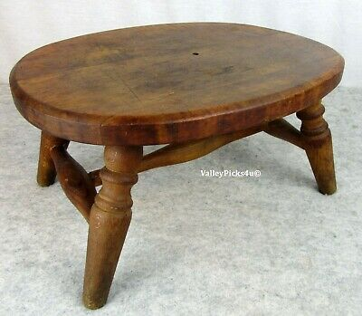Antique Primitive Wooden Foot Farm Milking Stool ~Folk Art Childs Time Out Bench
