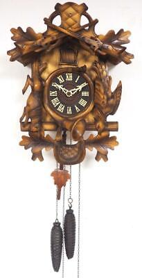 Vintage Cuckoo Wall Clock Weight Driven German Carved Cuckoo Clock Working C1960