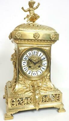 Incredible Antique French Ormolu Mantel Clock 8 Day Striking Mantle Clock C1870