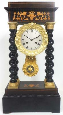 French Ebony Inay Portico Mantel Clock 8 Day Bell Striking Mantle Clock C1860