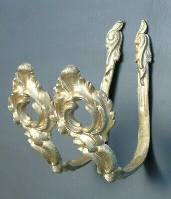 VINTAGE FRENCH TIEBACK HOOKS GILT BRONZE ORMOLU CHIC OPEN LOUIS XV STYLE 1Pr