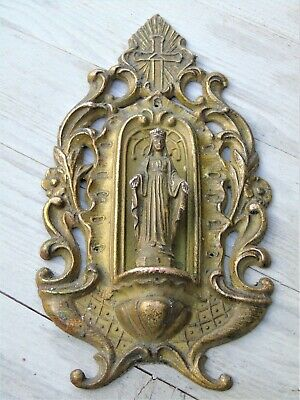 Antique French Holy Plaque Religious Gilt Bronze Mary Madonna Our Lady Beautiful