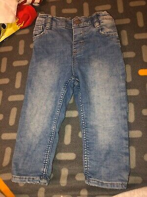 h&m boys blue wash jeans with adjustable waist age 9-12 months