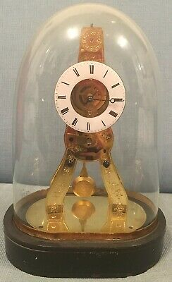 Mid 19c Miniature French Silk Suspension Skeleton Crystal Palace Mantle Clock