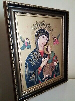 Large Vintage Religious Icon Picture Madonna Russian Orthodox Ornate Frame.