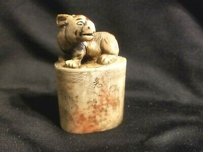 1800's OLD CHINESE FIGURAL SOAPSTONE CARVING RABBIT w POEM LEGEND GREEN RIVER