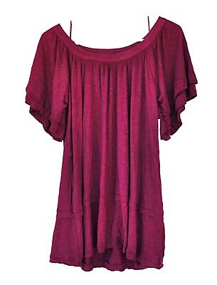 Style & Co Size 0X Burgundy Wide Neck Knit Top Short Layered Sleeves