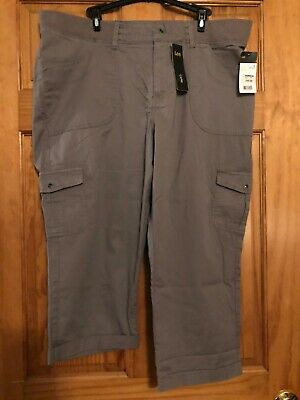 LEE RELAXED FIT WOMENS Frost Grey CAPRI PANTS ELASTIC BAND SIZE 18 NWT Free Ship