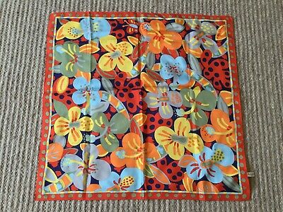 Vintage KEN DONE Polyester Scarf 70's Bright Orange Red Blue Green Print