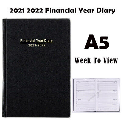 2020 2021 Financial Year Diary  Black Hard Cover Week To View A5