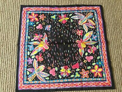 Vintage ???KEN DONE Polyester Scarf 70's Black With Colourful Australiana Print