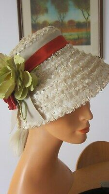 1950,s vintage Clover Lane beige straw hat with red/yellow flowers