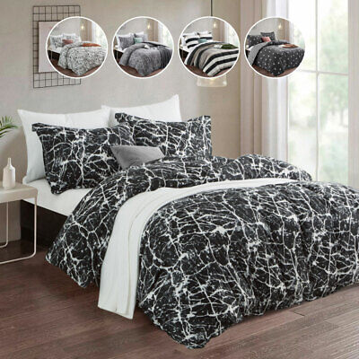 Duvet Cover with Pillowcase Quilt Cover Bedding Set Single Double King UK Modern
