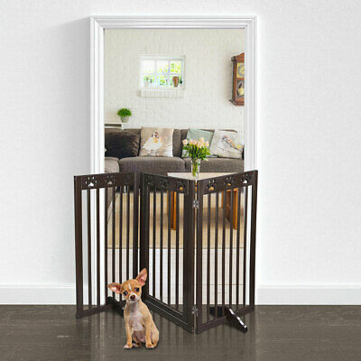 Folding Pet Gate Portable Wooden Retractable Cat Fence Wood Safety Expanding UK